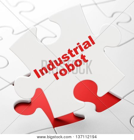 Industry concept: Industrial Robot on White puzzle pieces background, 3D rendering