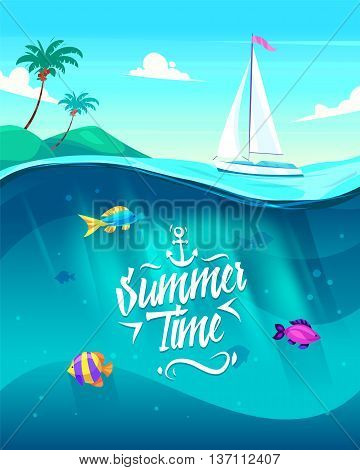 Holidays by the sea. Lettering on the backgrounds of the beautiful boat, palm trees and the sea. Vector design illustration for web design development, natural landscape graphics.