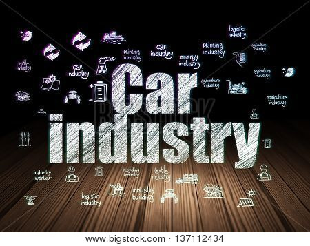 Industry concept: Glowing text Car Industry,  Hand Drawn Industry Icons in grunge dark room with Wooden Floor, black background