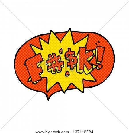 freehand drawn comic book speech bubble cartoon swearword