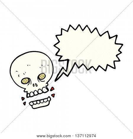 freehand drawn comic book speech bubble cartoon scary skull