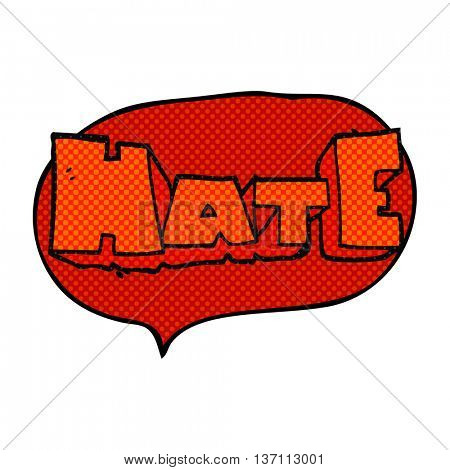 freehand drawn comic book speech bubble cartoon word Hate