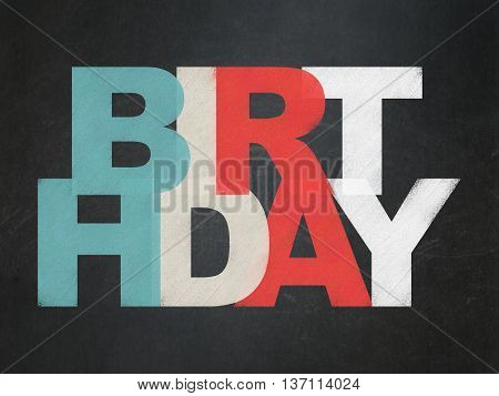 Holiday concept: Painted multicolor text Birthday on School board background, School Board