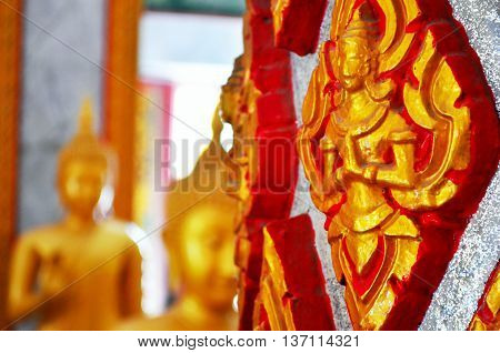 Chalong temple Phuket Thailand. Temple details. Asia