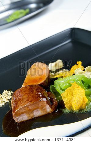 delicious dish of  lamb with gravy and  mixed vegetables