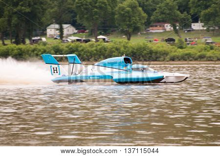 Madison Indiana - July 2 2016: Jimmy Shane drives the Madison Racing U-1 in the Clifty Engineering & Tool Company Unlimited Heat 1A at the Madison Regatta in Madison Indiana July 2 2016.