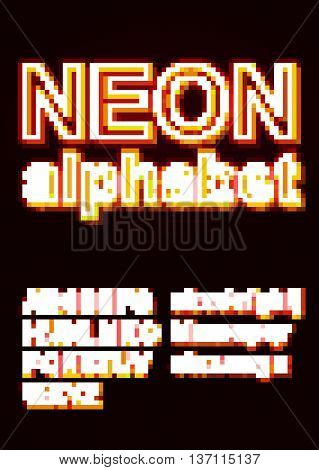 Glowing Neon Alphabet for Poster or booklet.