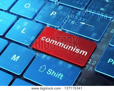 Political concept: computer keyboard with word Communism on enter button background, 3D rendering