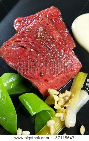 beef steak  with cream and mixed vegetables