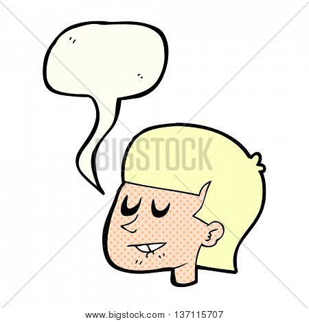 freehand drawn comic book speech bubble cartoon man biting lip