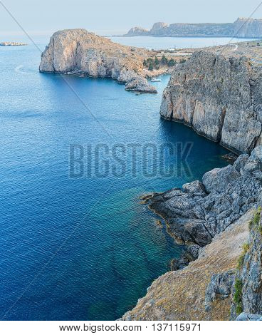 Greek coastline. Beautiful coastline from Lindos to St Paul bay in Rhodes. Greece.