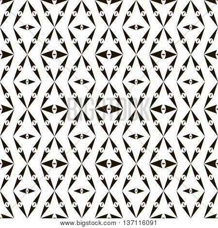 Abstract seamless pattern of sagittate elements. Black and white geometric ornament with arrow-shaped elements. Vector illustration to create an unusual design