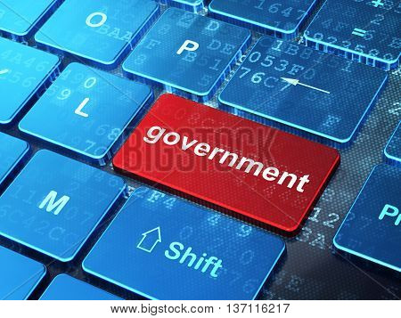 Politics concept: computer keyboard with word Government on enter button background, 3D rendering