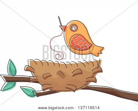 Illustration of a Bird Using a Needle to Put His Nest Together