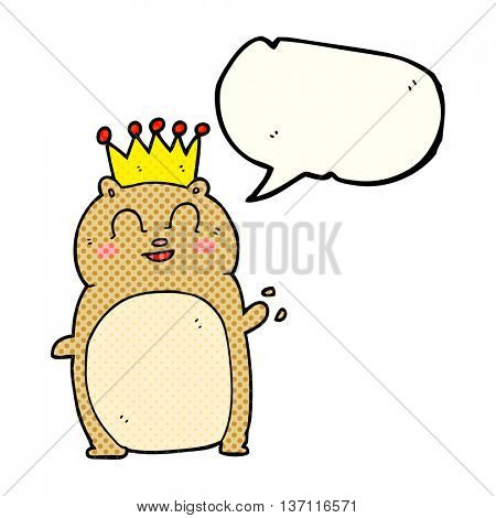 freehand drawn comic book speech bubble cartoon waving hamster