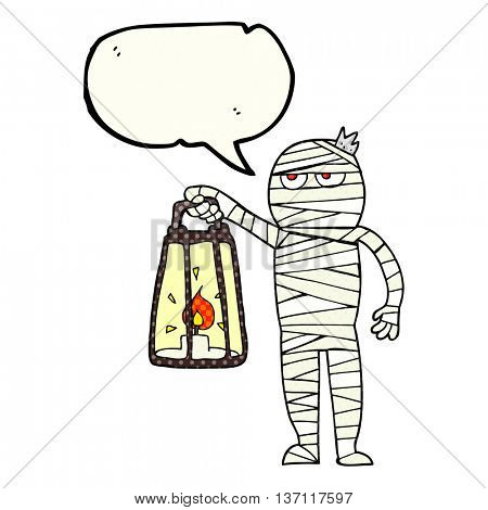 freehand drawn comic book speech bubble cartoon mummy