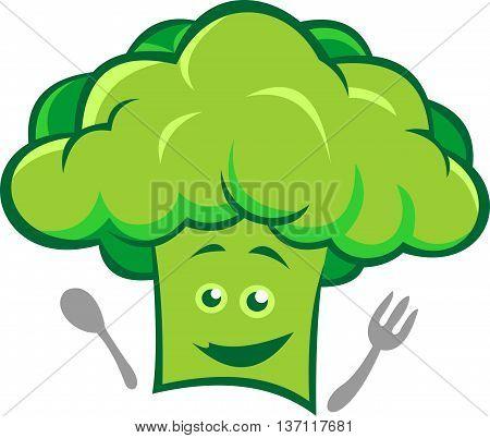 stock logo abstract green chef broccoli smile