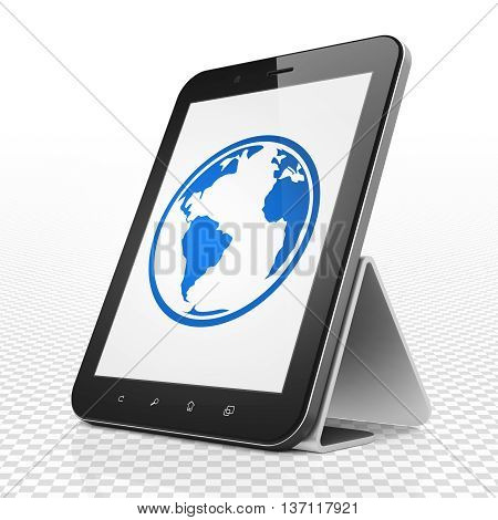 Studying concept: Tablet Computer with blue Globe icon on display, 3D rendering