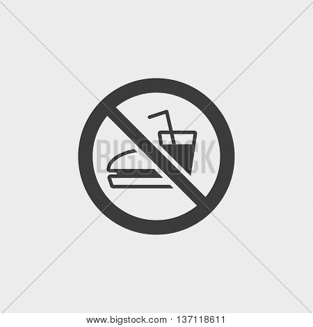 No Fast Food icon in a flat design in black color. Vector illustration eps10