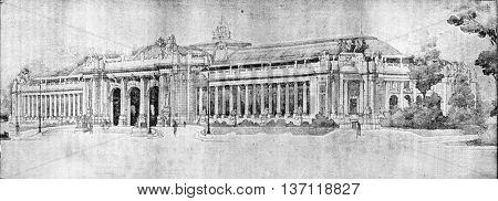 The Grand Palace, vintage engraved illustration. Industrial encyclopedia E.-O. Lami - 1875.