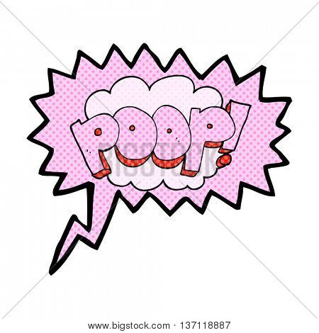 freehand drawn comic book speech bubble cartoon poop! text