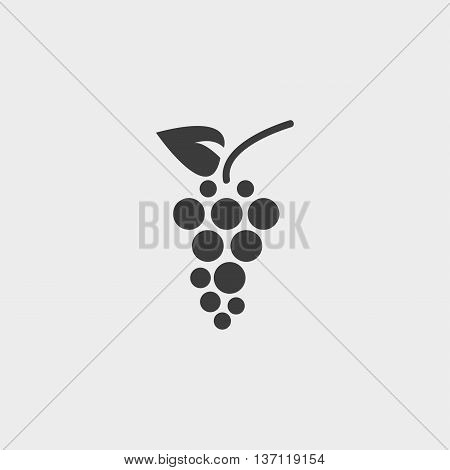grapes icon in a flat design in black color. Vector illustration eps10