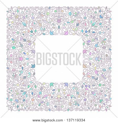 Elegant luxury varicolored floral frame. Square design template. Lineart vector illustration.