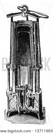 Wolf lamp with benzine rallumeur friction, vintage engraved illustration. Industrial encyclopedia E.-O. Lami - 1875.