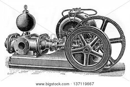 Power pump divers, vintage engraved illustration. Industrial encyclopedia E.-O. Lami - 1875.