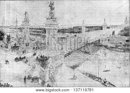 Pont Alexandre III, vintage engraved illustration. Industrial encyclopedia E.-O. Lami - 1875.