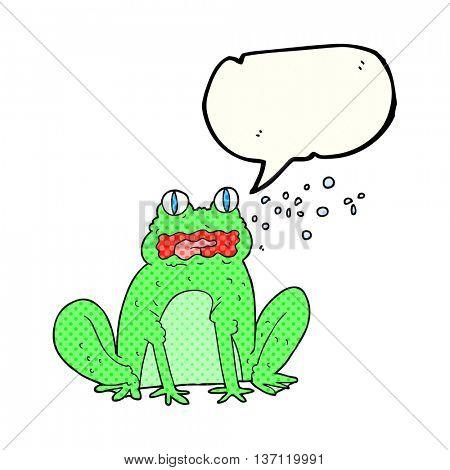 freehand drawn comic book speech bubble cartoon burping frog
