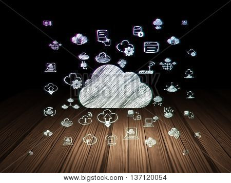 Cloud networking concept: Glowing Cloud icon in grunge dark room with Wooden Floor, black background with  Hand Drawn Cloud Technology Icons