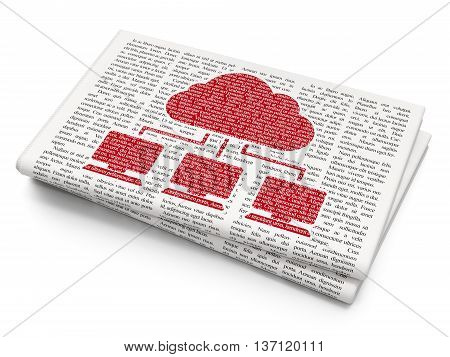 Cloud computing concept: Pixelated red Cloud Network icon on Newspaper background, 3D rendering