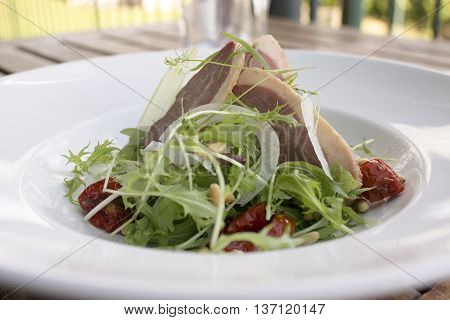 Smoked duck, shaved fennel and mizuna salad