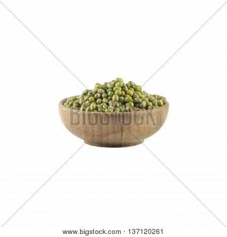 Mung beans in wood bowl isolated on white background