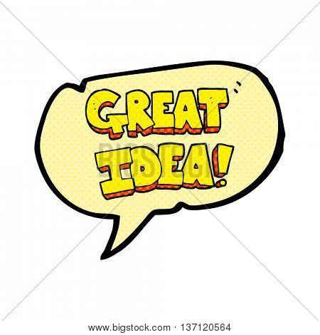 freehand drawn comic book speech bubble cartoon GREAT IDEA symbol