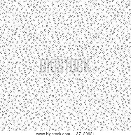 Seamless vector background with random elements. Tileable ornament. Dotted abstract background. Black and white pattern