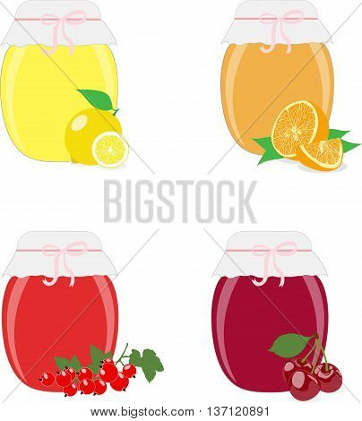 Jam jars, jam, lemons, oranges, currants and cherries. Isolated On White Background Vector Illustration