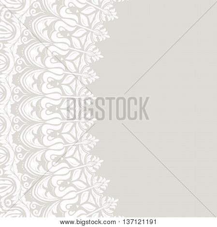 Classic vector frame with arabesques and orient elements. Abstract fine ornament with place for text. Light gray and white pattern