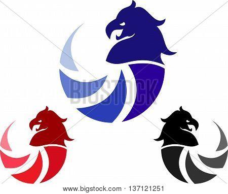 stock logo abstract eagle head icon illustration