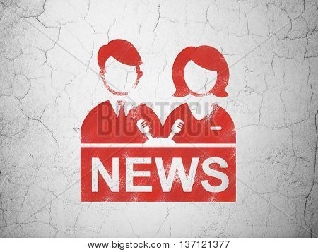 News concept: Red Anchorman on textured concrete wall background