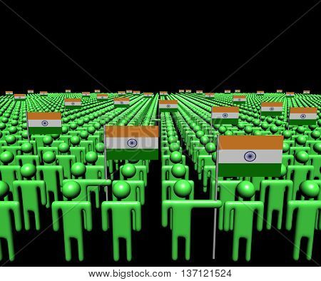 Crowd of abstract people with many Indian flags 3d illustration