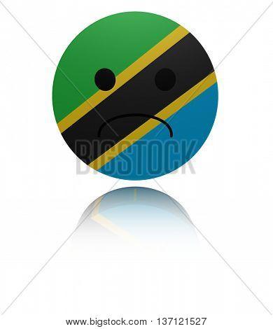 Tanzania sad icon with reflection 3d illustration