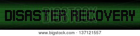 Disaster Recovery text on green laptops background illustration