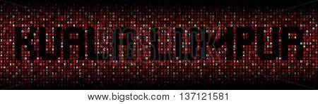 Kuala Lumpur text on hex code illustration