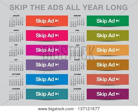 2017 Skip the ads calendar with a colorful set of buttons