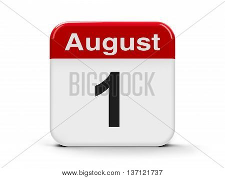 Calendar web button - The First of August - Swiss Confederation Day three-dimensional rendering 3D illustration