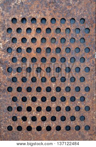 old rusty metal grater background and texture