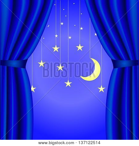 conceptual background with blue curtain open, with a crescent moon and stars blue, theater, beginning