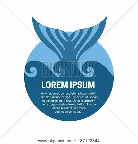 Blue whale tail label. Vector isolated illustration.